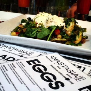 Eggs, Sammies, Salads, and custom made juices (I had the Vampire, which was delish!). The food at Anastasia's was divine.