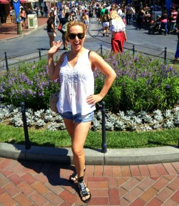 Coffee at Downtown disney. Notice the fab sandals pre bandaids. Chaneling Peter Pan's Crocodile?