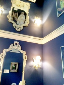 Mirrors in the bathroom, interesting views. Ha. But I adore the color blue she picked.