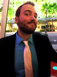 Story board artist, Owen, looking snazzy in his white tie. Tres chic en Vogue!