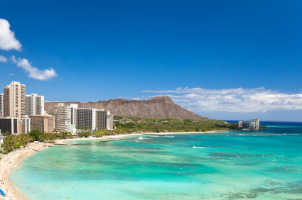 Beautiful Waikiki beach in tropical Hawaii. Image copied from google images. This is the beginning of the strand from the Hotel Modern in Honolulu.