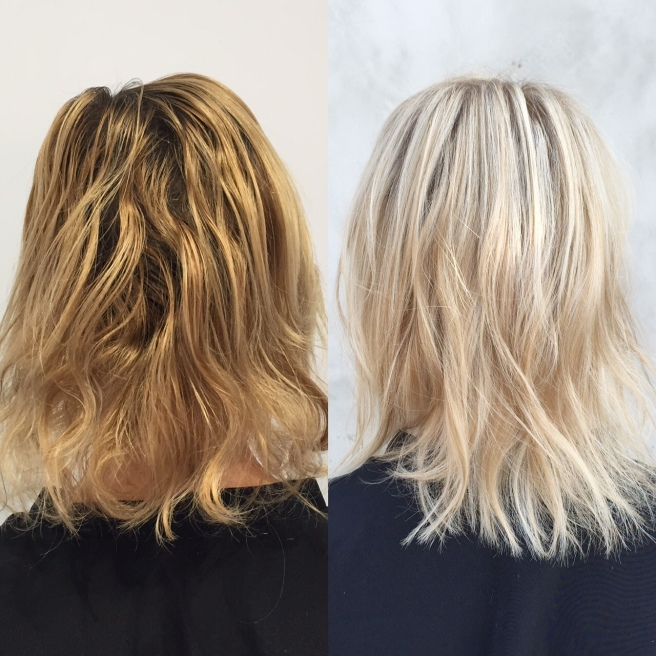 Before (left) and After (right)- Photo NOT retouched. I went from Bimbo to Bergdorf in less than three hours!