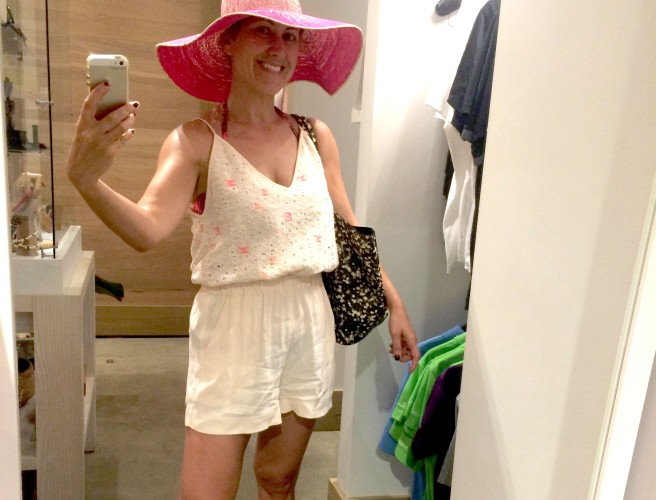 Love this cute pink hat I found in the shop by the pool.