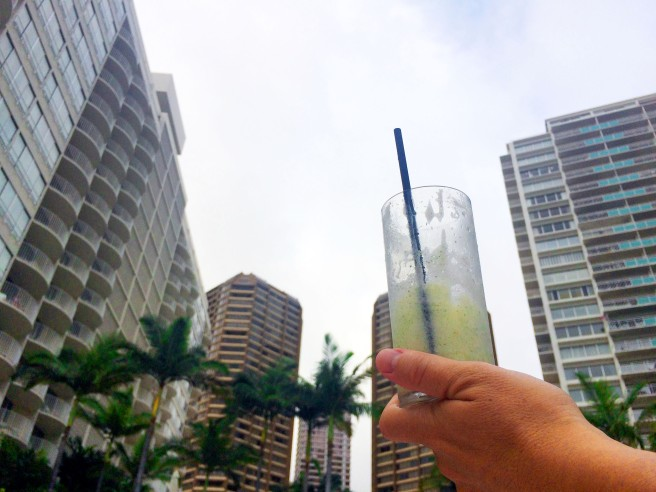 Enjoying a coconut mojito by the pool at The Modern in Waikiki.