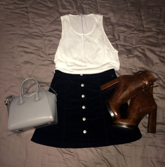 Top: T by Alexander Wang Skirt: Alexa Chung for AG Bag: Givenchy Booties: Prada