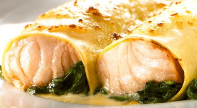 Cannelloni filled with Salmon- an Italian specialty.